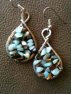 Amazonite and Tigereye genuine  gemstone hand forged silver wire earrings by BLLstudio.