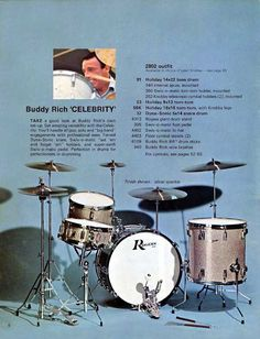 And from when Buddy endorsed Rogers, the Buddy Rich Celebrity kit -- but with only one large tom?--have this catalog Rogers Drums, Experimental Rock, Vintage Drums, Snare Drum, Gretsch, Drum Kits, Farm Yard, Thing 1, Rock Bands