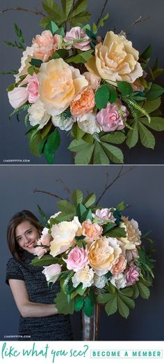 Northeastern Floral Bouquet - www.liagriffith.com #diyinspiration #cricutmade #cricutmaker #crepepaperrevival #paperflower #paperflowers #paperart #madewithlia