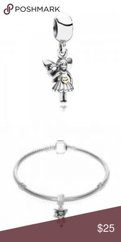 Sterling Silver Fairy Charm This Beautiful And Stunning Forever Fairy Charm is sterling silver with REAL 14c t. gold heart. This charm is threaded and will fit Pandora jewelry.CH060 WEIGHT 2.88 REAL 14ct GOLD HEART THREADED Pandora-like Jewelry