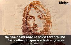 Querer ser otra persona es un desperdicio de la persona que eres. Kurt Cobain Frases, Nirvana, The Rock, Cool, Celebrities, Memes, Movie Posters, Rock Quotes, Best Quotes