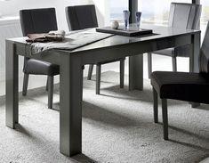 Table à manger avec rallonge design gris laqué ATMORE 2 Laque, Office Desk, Corner Desk, Furniture, Home Decor, Gray, Dinner Room, Extension Cords, Corner Table