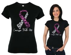 Breast Cancer Awareness - Breast Cancer Store - Courage Faith Hope Pink Ribbon Tee
