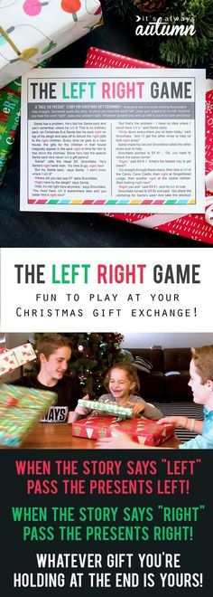 the Christmas left right game (w/printable story Ever played the left right game at your Christmas gift exchange? It's so much fun! No stealing presents from each other, so no one is disappointed! Christmas Gift Exchange Games, Fun Christmas Party Games, Xmas Games, Holiday Games, Kids Party Games, Holiday Fun, Santa Games, Reindeer Games, Diy Games
