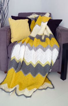Hello yellow - afghan crochet chevron blanket -> Made to order