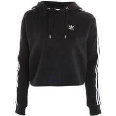 Three Stripe Hoodie by Adidas Originals ($120) ❤ liked on Polyvore featuring tops, hoodies, black, striped hooded sweatshirt, hoodie top, topshop hoodies, stripe top and sweatshirt hoodies