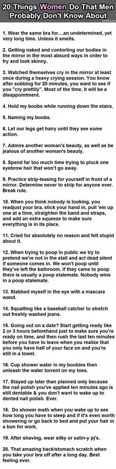 20 things women do. I haven't done 5 or 8....