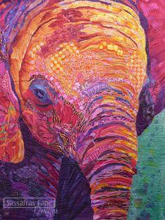 Elephant quilt, collage technique by Darlene Determan. Quilting: Thread Painting by Kristy Wolf.  Sassafras Lane Designs.