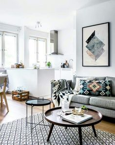 Decor for Small Living Room . 35 Awesome Decor for Small Living Room . 20 Best Small Apartment Living Room Decor and Design Ideas for 2019 Home Living Room, Apartment Living, Living Room Designs, Living Area, Apartment Kitchen, Coffee Table For Small Living Room, French Apartment, White Apartment, Family Apartment