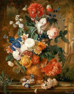 Mélanie de Comolera (active 1816-1854) - Still life with flowers, oil on canvas, 74,5 x 59 cm. 1927.