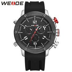 Cheap homme montre, Buy Quality homme silicone directly from China hommes sport montre Suppliers: Casual genuin New Brand WEIDE Watch Men Sport Style Japan Quartz Digital Move't Silicone Waterproof Wristwatch Male Montre Homme Army Watches, Sport Watches, Watches For Men, Wrist Watches, Mens Digital Watches, White Clocks, Sport Fashion, Fashion Black, Men Fashion