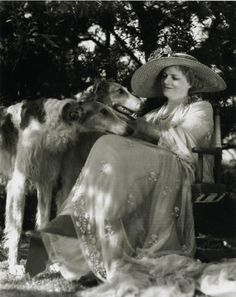 Ethel Barrymore with Borzois.  Photo by Clarence Sinclair Bull 1932