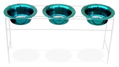 Platinum Pets White Triple Modern Diner Stand with 4 Cup Stainless Steel Dog Bowls in Caribbean Teal >>> Want additional info? Click on the image. Note: It's an affiliate link to Amazon.