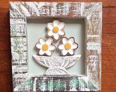 Quadro com flores de madeira P