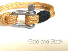 Paracord  Nautical bracelet with stainless steel D shackle  (Gold and Black ) 100% Handmade by Startimagine on Etsy