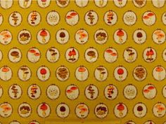 """Japanese Kawaii Mushroom  50cm  or 19"""" length by 110cm or 42"""" wideth in Mustard"""