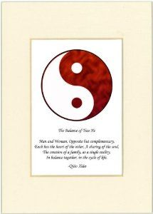 "5x7 Yin Yang Print (Red/White) with Ivory Mat by Oriental Design Gallery. $9.45. Made in USA. Each print is mounted on acid-free mat board by using acid free adhesive. Print size is 5"" x 7"", Mat Opening is 3"" x 4 1/2"".. High resolution prints on high quality glossy paper. This is a Yin Yang Print with an original Chinese Proverb written by Qiao Xiao. The proberb is entitled ""The Balance of Tiao He"", the proverb says: ""Man and Woman, Opposite but Complementary, Each has t..."