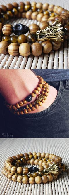 Gemstone Bracelet, Tiger Eye Bracelet, Dragon Bracelet, Mens Bracelet,Game of Thrones Fan Gift by ElwynJewelry