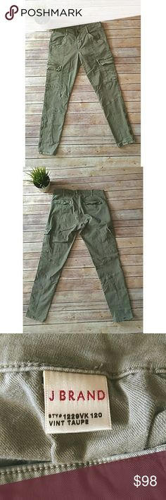 J Brand Houlihan taupe cargo moto skinny jeans J Brand jeans in a light army green color.  Name of color is Vintage Taupe. They have a Moto style with cargo pockets.  They are skinny jeans and have a zipper detail on the bottom of legs.  They have flap pockets on the back.  Buttons have a rusted look.   Waist:15.5 inches laying flat Rise: 9 inches Inseam: 29 inches All measurements are approximate Pet free smoke free home J Brand Jeans Skinny