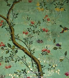 Wallpaper with flowering shrubs and fruit bees. China, 19th century