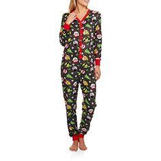 699ca2eba Secret Treasures Womens Christmas Emoji Micro Fleece Union Suit Pajamas  (XS) at Amazon Women's Clothing store: