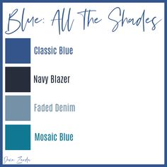 All Things Blue-How to Rock Blue in Fashion • Devin Zarda | Pantone, who is the official color guru of the world, has deemed Classic Blue to be the color of 2020. This color will pop up everywhere once you're aware of it. Beyond predicting the color of the year, Pantone also predicts colors for each season. These colors usually coordinate with the color of the year.
