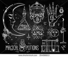 trendy Alchemy symbols collection on chalkboard. Religion philosophy ...