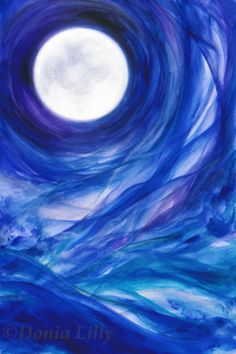 Small Moon art metal print of acrylic full moon painting - blue, turquoise, purple, and white by Kauai fine artist Donia Lilly: Moontides II on Etsy, $80.00