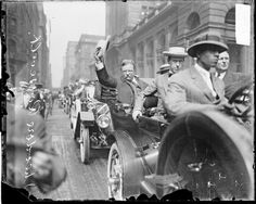 Former President Theodore Roosevelt in a procession along W. Jackson Blvd. in the Loop. He was in Chicago during the Progressive Party National Convention held from August 5-7, 1912. The photograph was taken on August 6, 1912 by Chicago Daily News, Inc.