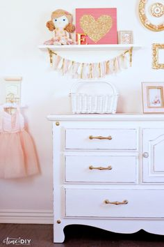 Darling girls room gallery wall decor! Love the chippy glam dresser makeover! So…