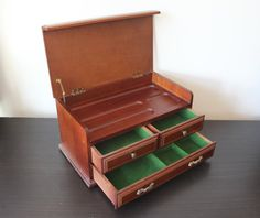 Vintage secretary desk style wood jewelry box by BlueWolfHome