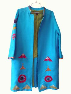 Silk Vintage Suzani Open Tunic Cocktail Coat Turquoise