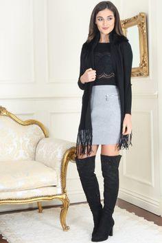 Ellen Light Grey Front Zip Detail Skirt
