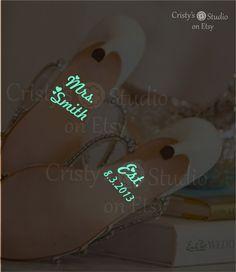 GLOW in the DARK Wedding Shoe Decals