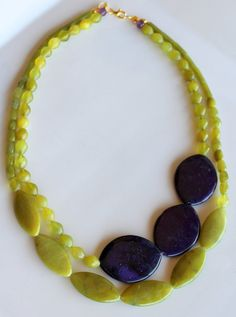 Citrus Twist Necklace Lemon Lime Jade beaded by CaliforniaEclectic, $42.00