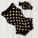 OMG how cute! Gold dot romper and headband set, find it at dashingbaby.com in 6 colors