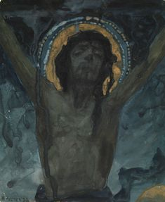 NESTEROV, MIKHAIL (1862-1942)    Christ on the Cross, signed. Tempera, watercolour and bronze ink on card, 19 by 15.5 cm.