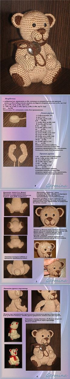 Elfin Thread- Teddy Bear Amigurumi PDF Pattern (Teddy Bear crochet PDF pattern) ElfinThread USD October 16 2015 at Crochet Bear Patterns, Crochet Bunny Pattern, Love Crochet, Amigurumi Patterns, Crochet Animals, Knit Crochet, Crochet Amigurumi, Crochet Dolls, Crochet Crafts