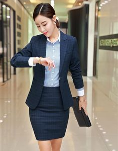High Quality Fashion Women Skirt Suits Navy Blue Blazer and Jacket Sets Ladies Business Suits Office Uniform Styles Office Uniform, Skirt Suits, Business Suits, Navy Blue Blazer, Suits For Women, Blazer Suit, Fashion Women, Plus Size, Lady