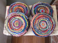 Wool Mug Rugs  Set of Four Hooked Rug Coasters by Woolettes  could be pillows?