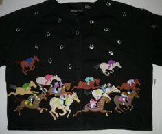 Michael Simon Horse Racing Derby Black Cardigan Sweater Beaded RARE XL in Clothing, Shoes & Accessories | eBay