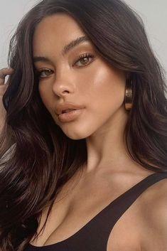 Natural Glowy Makeup, Glossy Makeup, Dark Skin Makeup, No Eyeliner Makeup, Glam Makeup, Makeup Tips, Beauty Makeup, Face Makeup, Color Eyeliner
