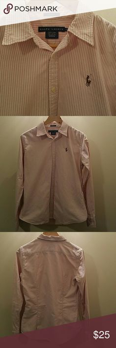 Pink/white stripe Polo oxford Stripped Ralph Lauren Oxford.  Slim fit (tailored at waist)  really comfy and adorable.  Pearl buttons. Small stain on right shoulder shown in 4th picture- should come out Polo by Ralph Lauren Tops Button Down Shirts