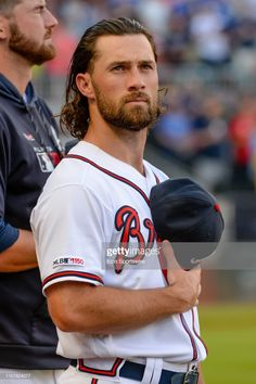 Atlanta Braves left fielder Charlie Culberson during the national anthem before a MLB game between the Kansas City Royals and the Atlanta Braves at SunTrust Park in Atlanta, GA on Tuesday, July Get premium, high resolution news photos at Getty Images Hot Baseball Players, Braves Baseball, Baseball Guys, Baseball Quotes, Baseball League, Mlb Players, Cub Sport, Suntrust Park, Black Suit Men