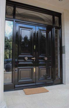 Georgian Century Style Solid Oak Doors and Architraves Main Entrance Door Design, Front Door Entrance, House Front Door, Front Door Design, House Doors, House Entrance, Double Front Entry Doors, Double Doors Exterior, Sas Entree