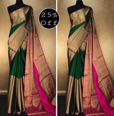 Discover thousands of images about Kanchipuram silk saree Kanjivaram Sarees Silk, Indian Silk Sarees, Indian Beauty Saree, Kerala Saree, Ethnic Sarees, Wedding Saree Blouse Designs, Half Saree Designs, Wedding Silk Saree, Kanchipuram Saree Wedding