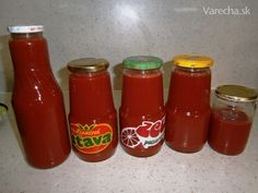 Paradajkový pretlak (fotorecept) Hot Sauce Bottles, Preserves, Pesto, Food To Make, Jar, Homemade, Red Peppers, Preserve, Jars
