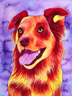 Pop Art Dog Print  Limited Edition 8 x 10 by rachelspetpaintings, $30.00