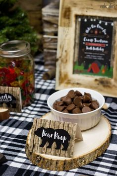 Bear Poop food cards for a camping or lumberjack birthday party