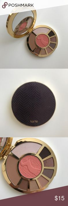 TARTE SHOWSTOPPER CLAY PALETTE I received this as a gift and looking to sell. I've only swatched a few of the eyeshadow colors and haven't used this palette. This is still a new palette. I don't have the box that comes with it either. Sorry 😬. tarte Makeup